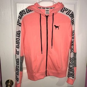 PINK VS orange zip up jacket